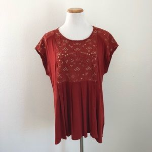 Anthropologie Akemi & Kin Embroidered Blouse L